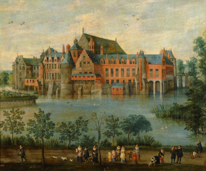 Los archiduques Isabel Clara Eugenia y Alberto en el Palacio de Tervuren, en Bruselas, Atribuido a Jan Brueghel el Viejo.Museo del Prado